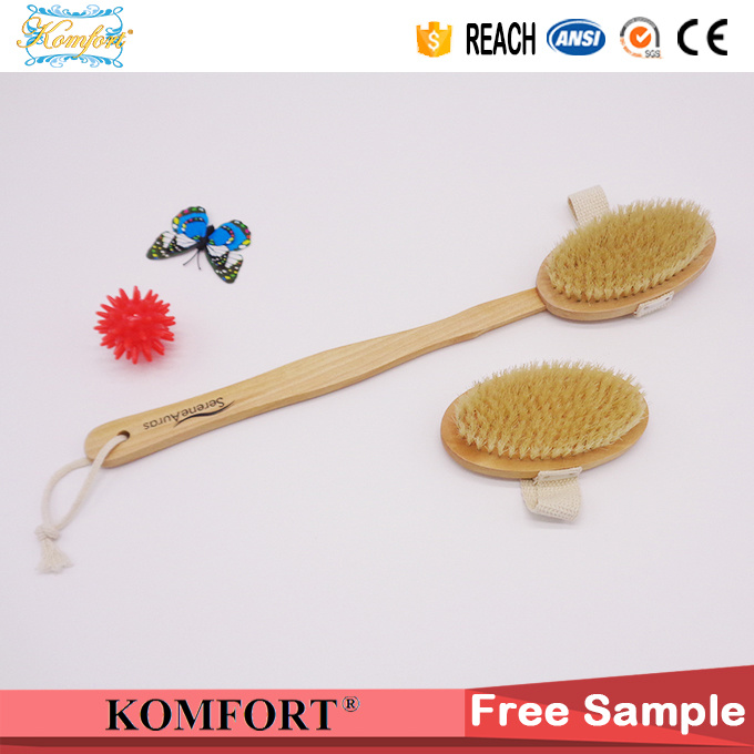 Natural Boar Bristle SPA Dry Skin Body Scrubber Wood Bath Brush (JMHF-118)
