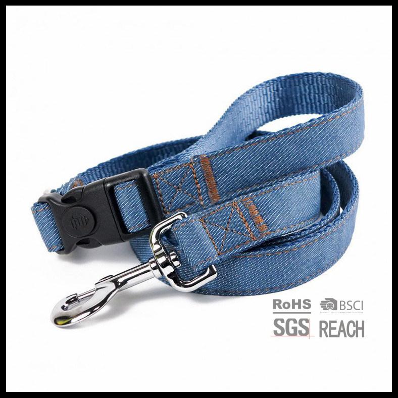 2ply Durable Jeans Denim Blue Pet Dog Leash with Detachable Handle