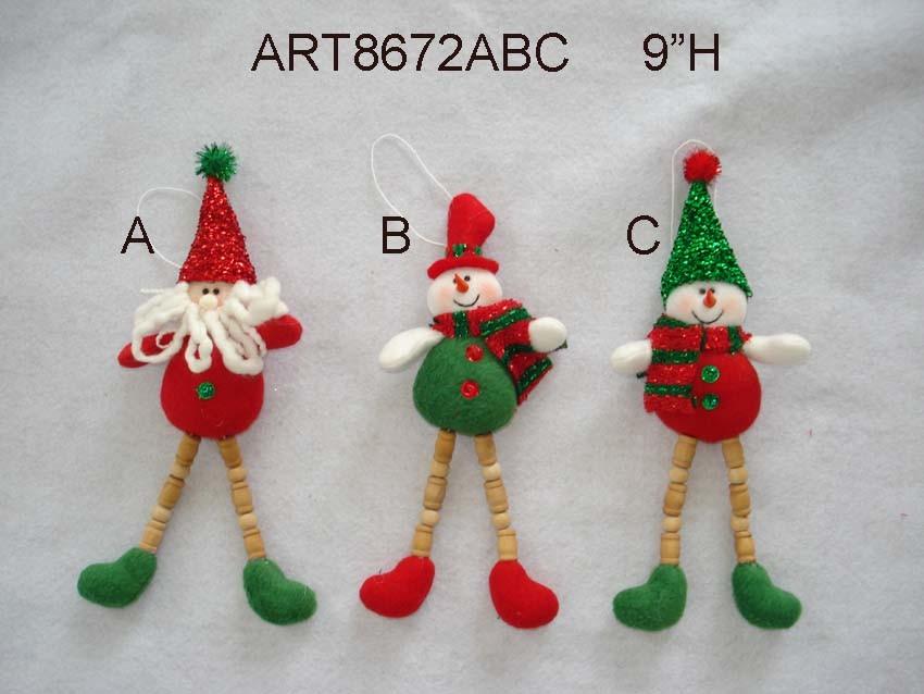 "5.5""H Santa and Snowman -Christmas Decoration Ornaments, 3 Asst"