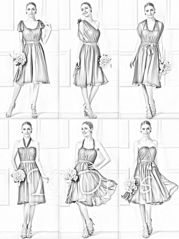 A-Line Tea-Length Convertible Short Burgundy Bridesmaid Dress (Dream-100019)