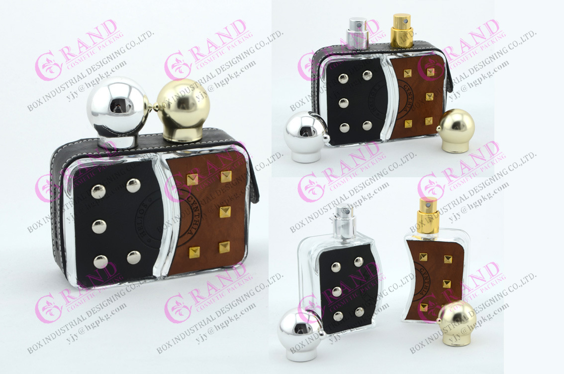 OEM/ODM Luxury Glass Perfume Bottle of Leather Decoration