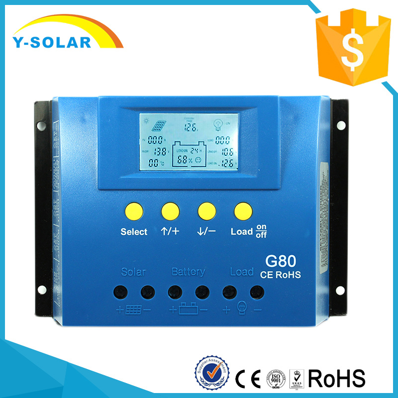 80A 12V/24V 24h-Backlight Solar Panel Cell PV Charge Controller G80