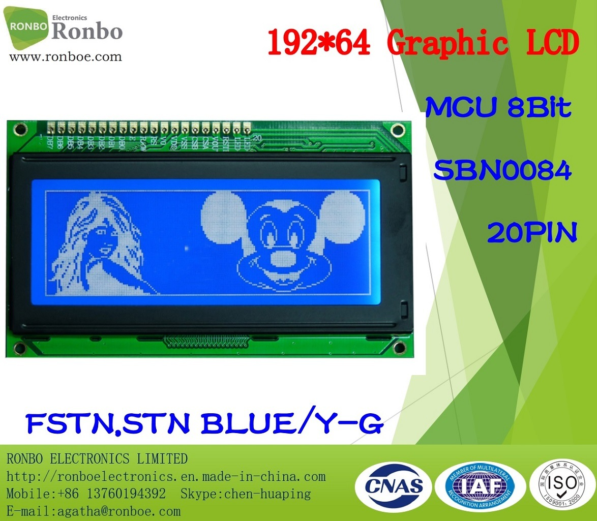 192X64 Stn or FSTN Graphic LCD Display, COB LCD Module