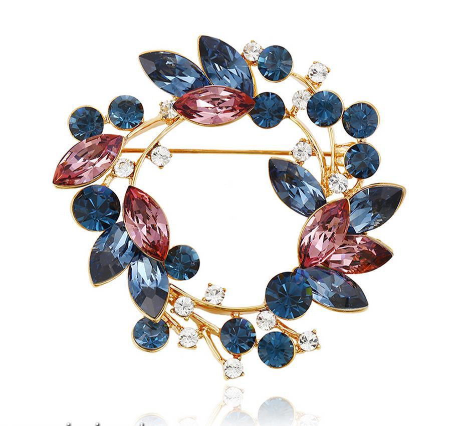 00040 Fashion Colorful Leaves Design Crystals From Swarovski Jewelry Brooch