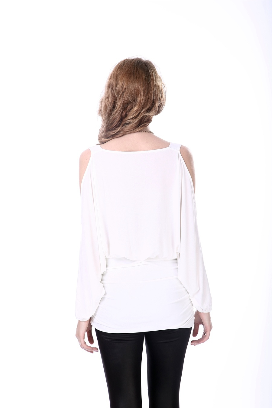 Women′s White New Blouse Neck Design Korea Design Blouse