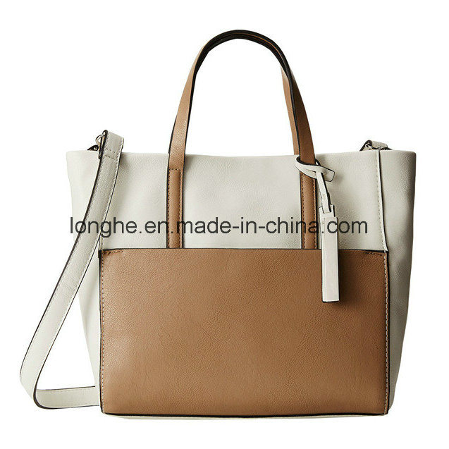 Chic Color Block Design Smooth PU Leather Handbag (ZXS0114)
