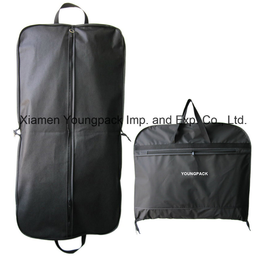 Wholesale Bulk Promotional Custom Printed Black PEVA and Non-Woven Fabric Clothes Cover Suit Carrier Garment Bags