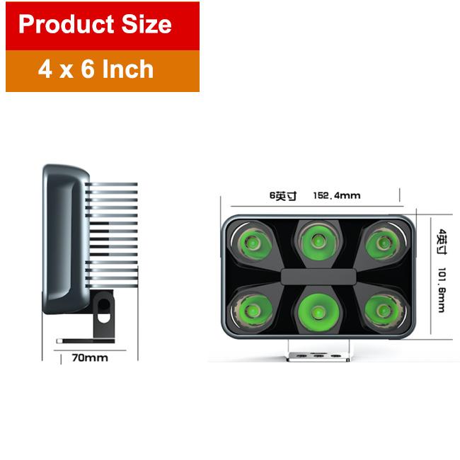 60W LED Work Light (4X6inch, Waterproof IP69k)