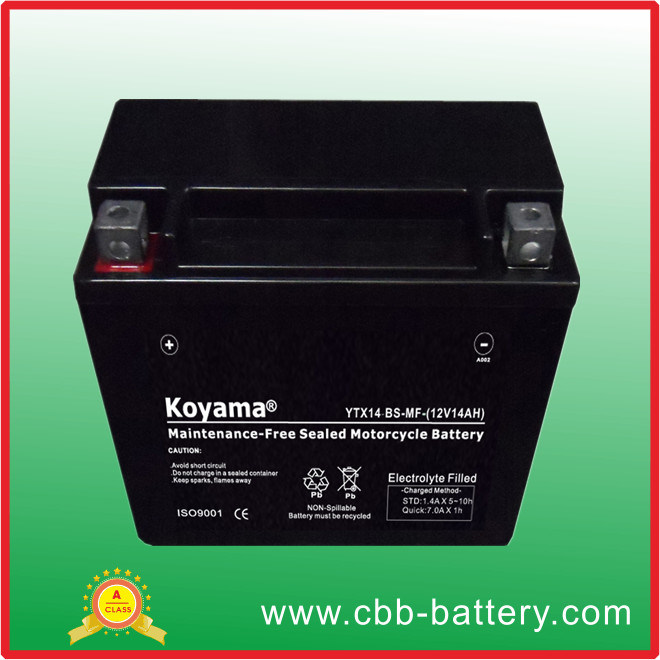 High Performace 12V 12ah Sealed Lead Acid AGM Mf Motorcycle Battery Ytx14-BS