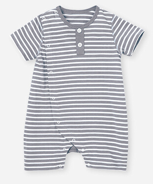 Bamboo Yarn Dyed Stripe Baby Romper