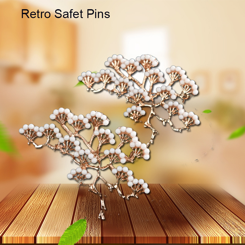 Retro Snow Mountain Conifers Safety Pins