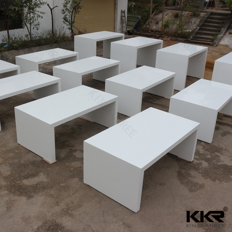 White Artificial Marble Resin Stone Customized Long Bar Table