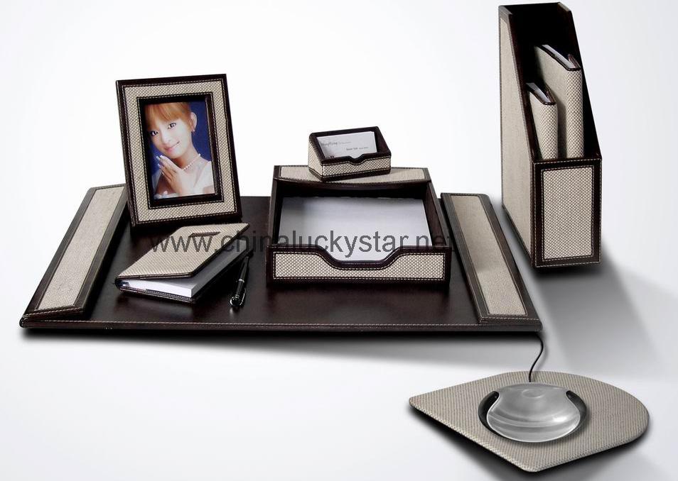 Desk Set Stationery - China leather desk stationery, leather desk set