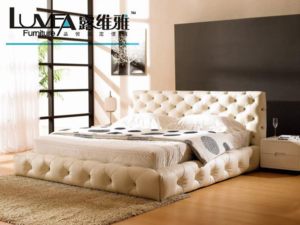 China Soft Bed L 8093 China Leather Bed Soft Bed