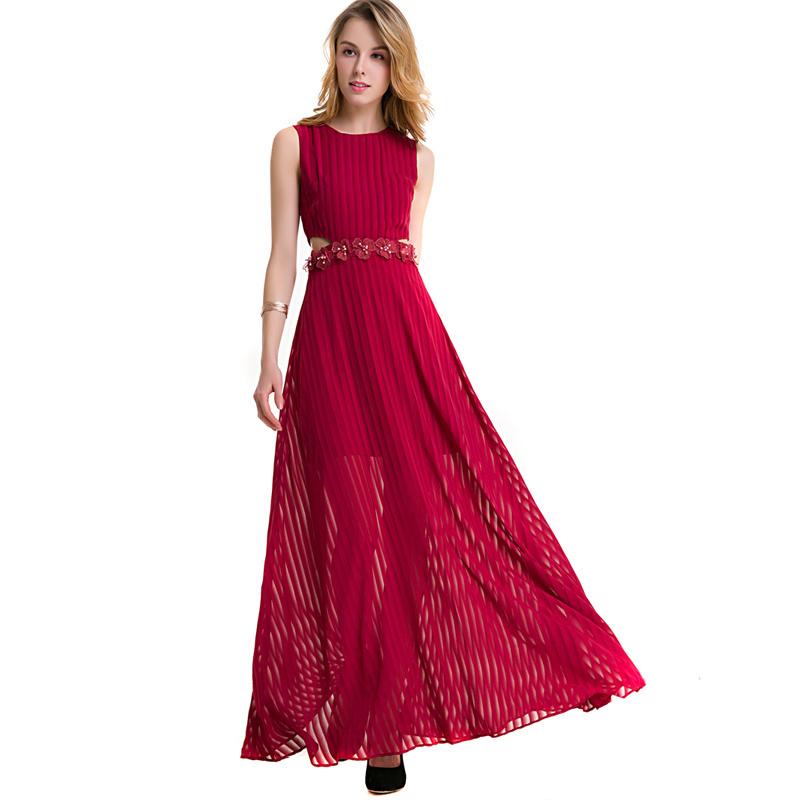 Maxi Burgundy Evening Dress Sleeveless Graceful