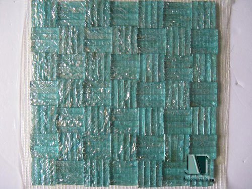 glass tile mosaic. Sea Blue Split Glass Mosaic