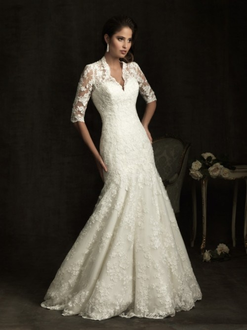 China half sleeve v neck lace mermaid wedding dress for Half sleeve wedding dress