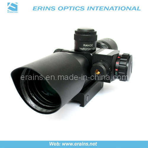 Mini 2.5-10X40 Tactical Compact Rifle Scope with Red Laser Sight