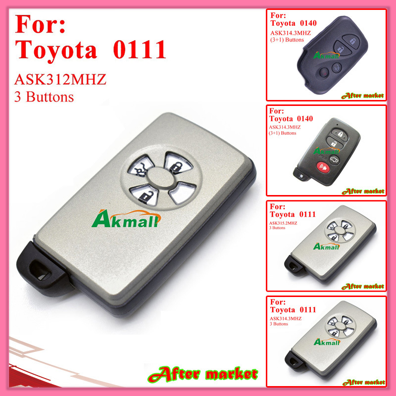 Smart Key with 3+1 Buttons Ask314.3MHz 0140 ID71 Wd03 Wd04 Camryreizpardo 2005 2008 Black