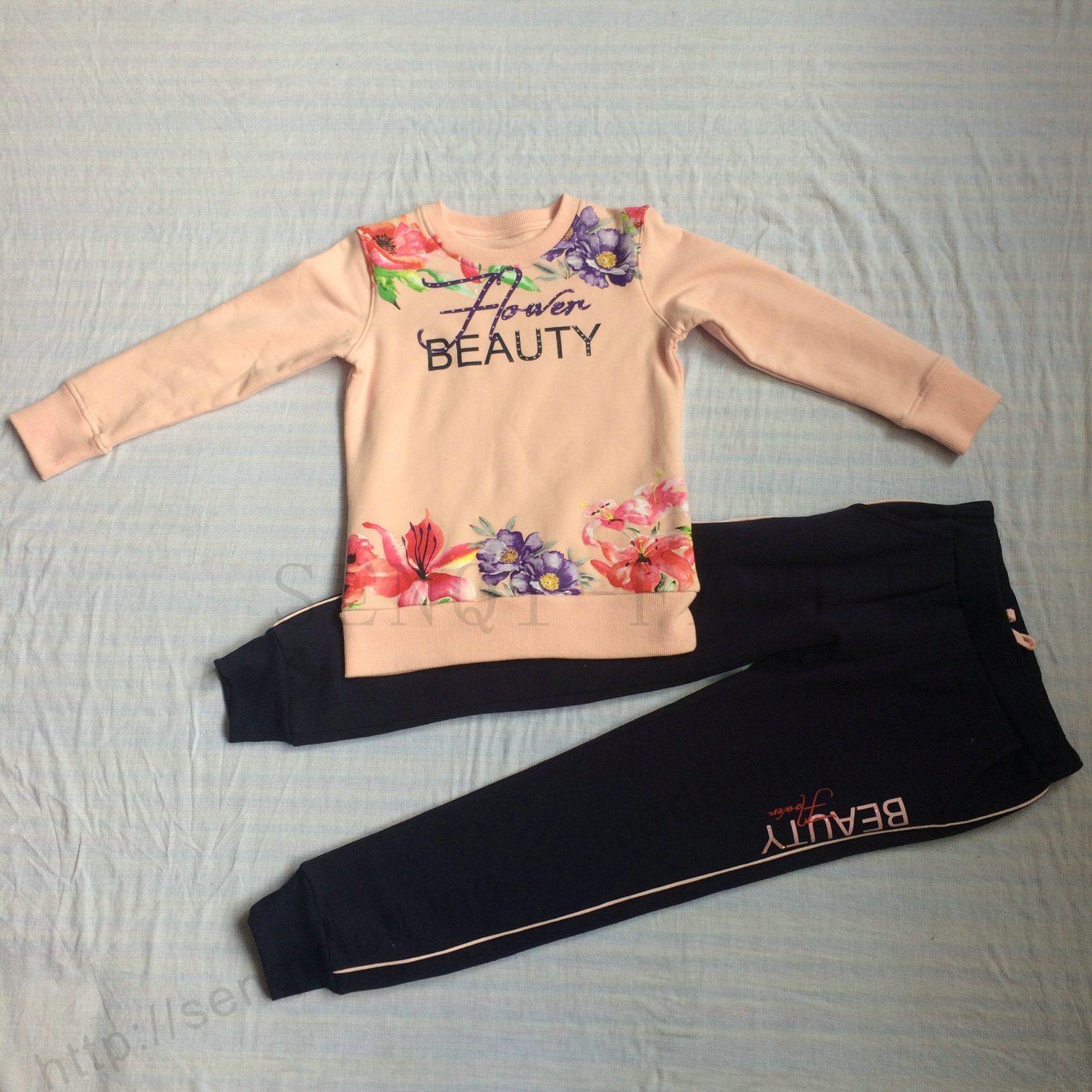 Winter Fleece Kids Girl Sport Suit Clothes in Children ′s Apparel Sq-6211