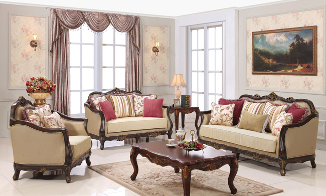 Classical Wood Sofa Set Traditional Fabic Couch for Living Room