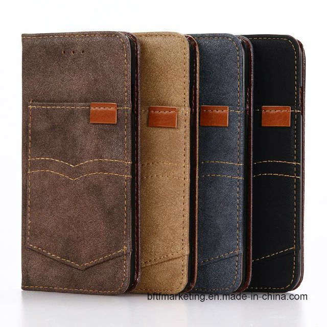 Jeans Canvas PU Leather Wallet Cell Phone Case for iPhone