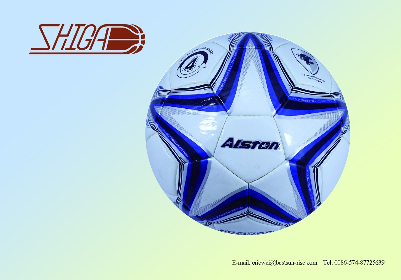 Machine Stitched PVC Blue White Star Soccer Ball