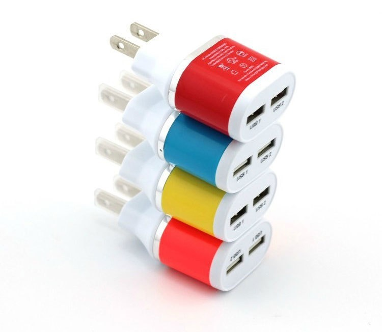 Wholesale Colorful Mobile Phone 2 USB Port DC Charger/Power Plug
