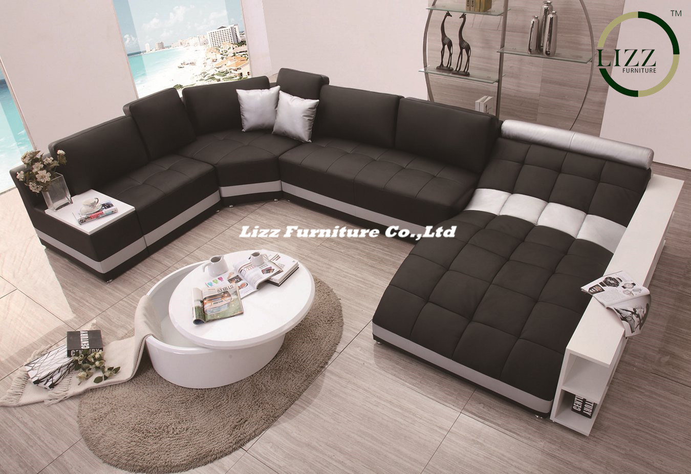 Italy Design Genuine Leather & Fabric Sofa Bed for Villa Project (LZ-219)