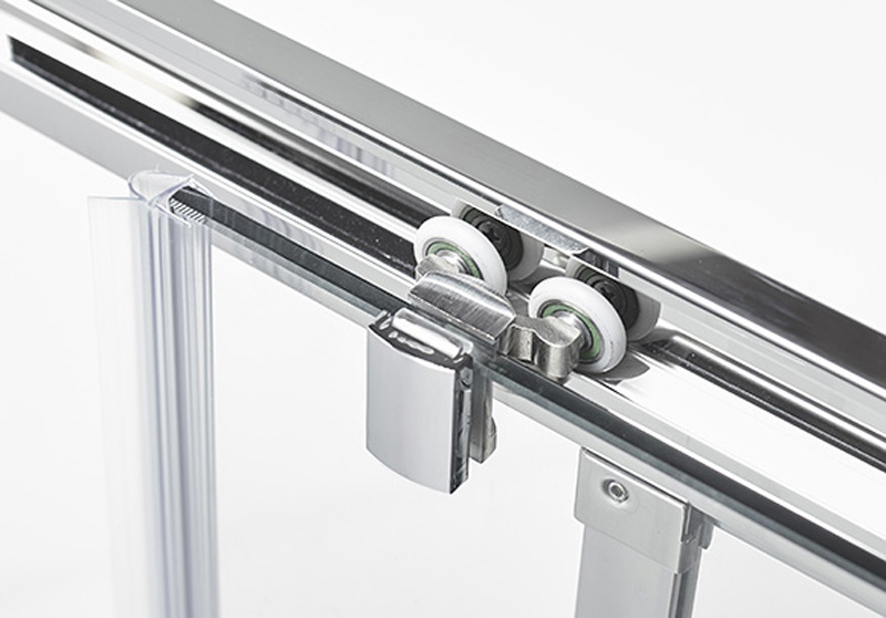 Stainless Steel Tempered Glass Shower Door with Stainless Steel Handle and Roller (K-SS13)
