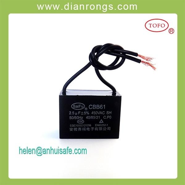 2.5UF 450V Cbb61 Fan Capacitor Sh Capacitor Cbb61capacitor
