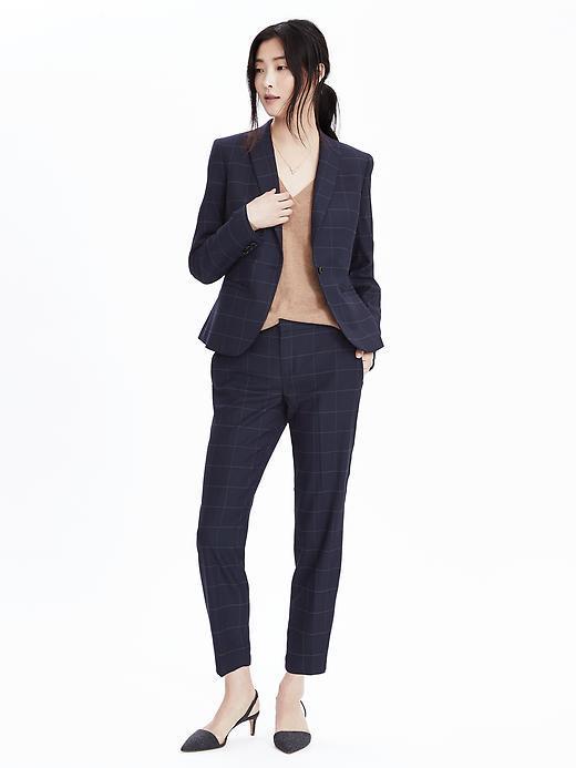 Slim Fit Linen Check Summer Designer Suits for Women