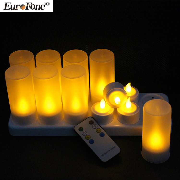 Warm White Rechargeable Flameless LED Candle with Remote Control
