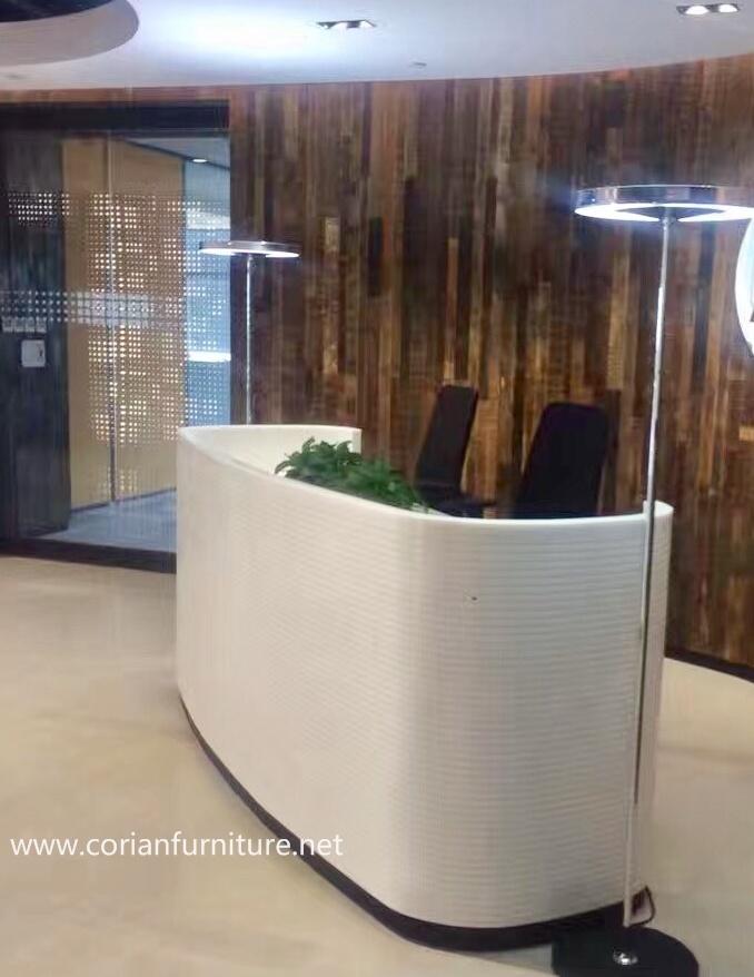 Glacier White Corian Office Front Desk