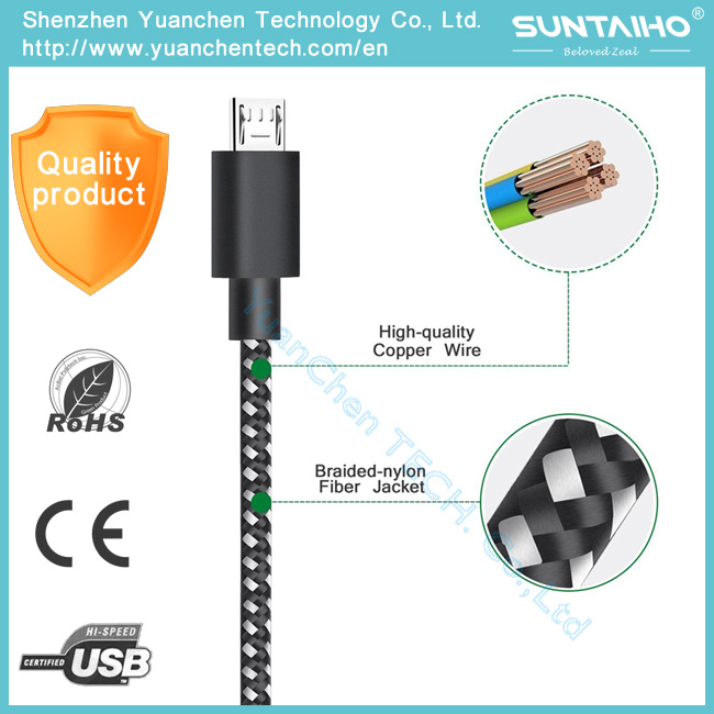 Braided Nylon Aluminum Fastest 1m Data Charger USB Cable for Samsung Phone
