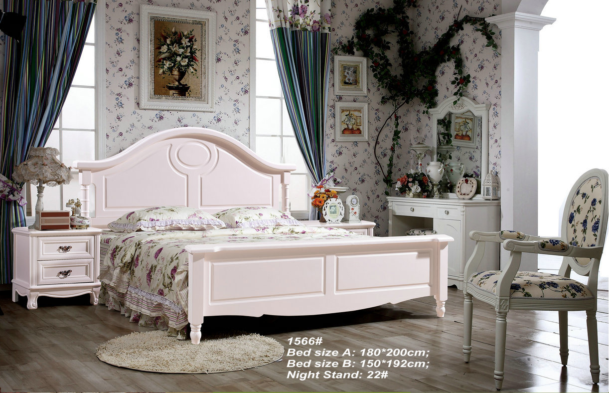 Wooden Bed, Double Size Bed, America Style Ikea Bed (1606)