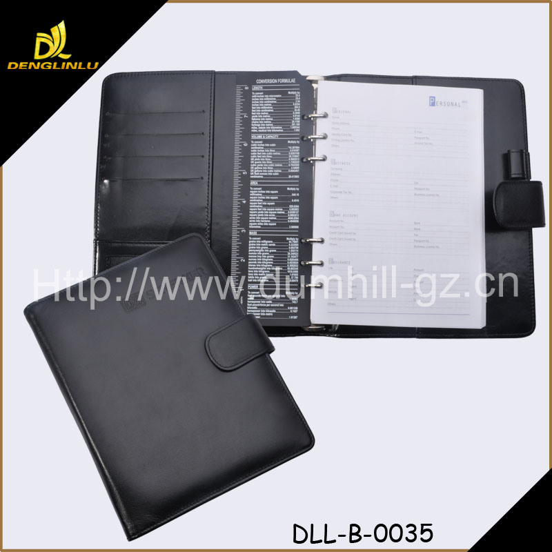 A5 Business Leather Holder File Folder with Pen