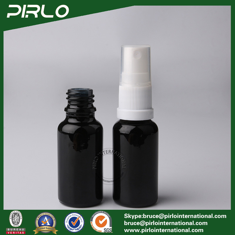 20ml Black Lightproof Glass Spray Bottles with White New Pump Sprayer