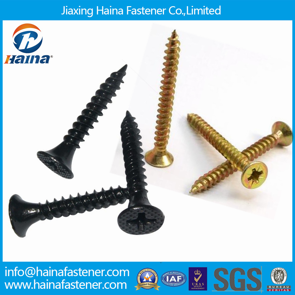 DIN7505 Yellow Zinc Plated Fine Thread C1022A Chipboard Screw / Black Grey Phosphated Bugle Head Coarse Thread Drywall Screw with Competitive Price