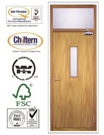Solid Wooden Fire Proof Doors with Britain BS Standard Certified