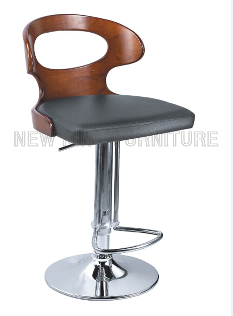 Popular Antique Design Bar Furniture Bent Wood Bar Stool with PU Leather Bar Chair (NK-BC025)
