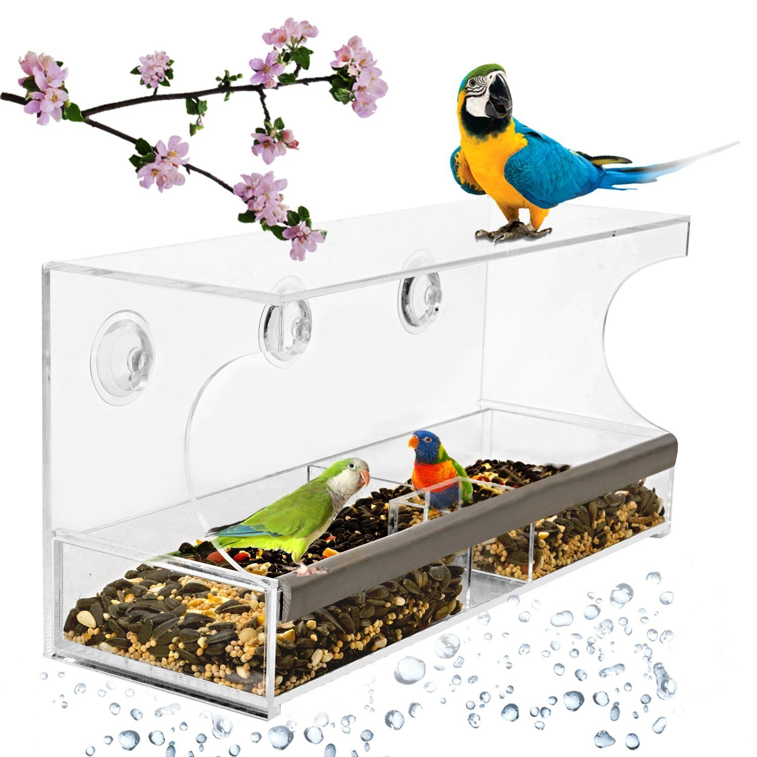 Acrylic Large Window Bird Feeder with Removable Tray