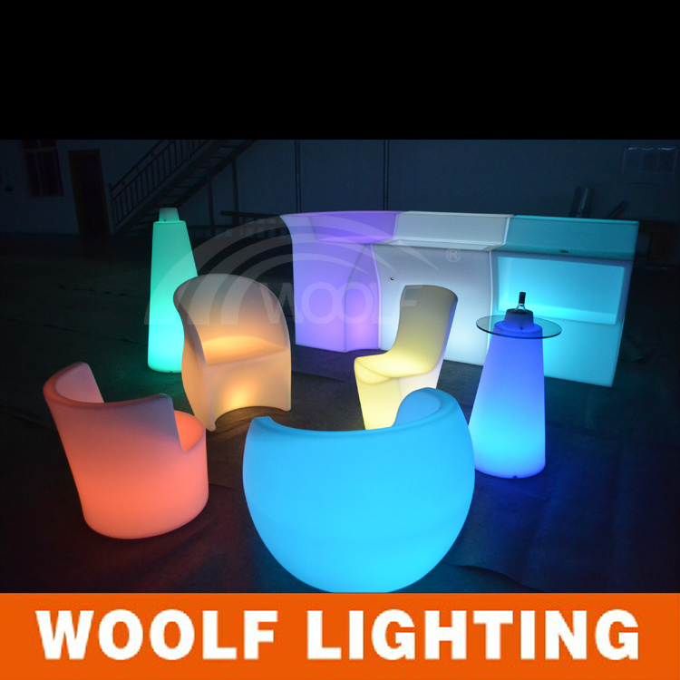 Rotating Plastic Hotel Restaurant LED Light Dining Chair