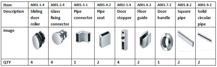 Glass Sliding Roller Set Glass Fitting