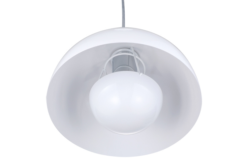 White Steel Flower Pot Semi-Sphere Suspension Lamp