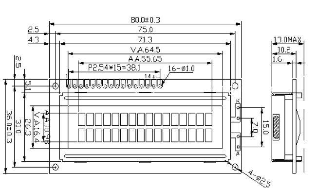 Character 16X2 Module, Acm1602k Series