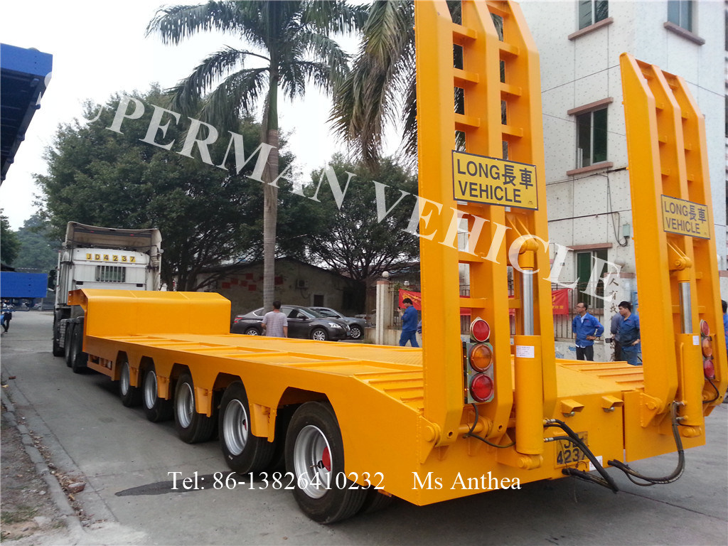 Five Axle Lowbed/ Low Deck Low Loader Cargo Truck Trailer