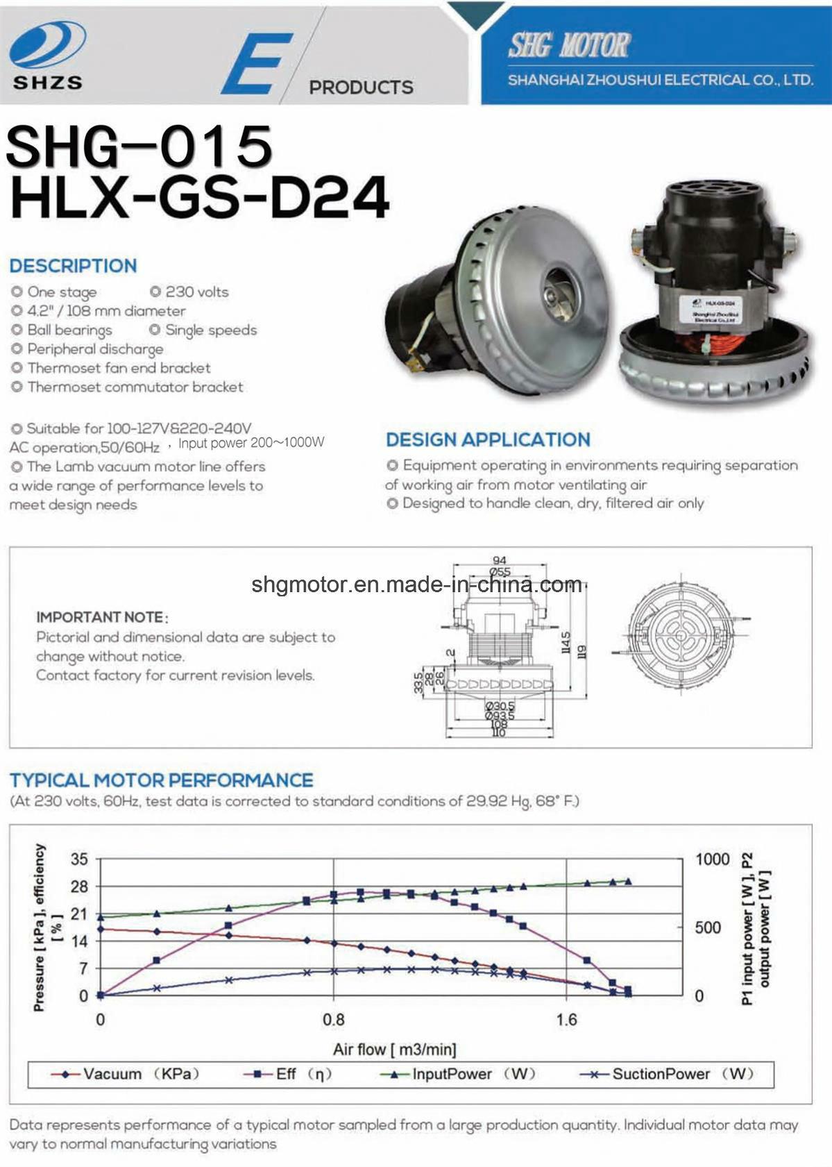 High Quality, Long Life Vacuum Motor (SHG-015)