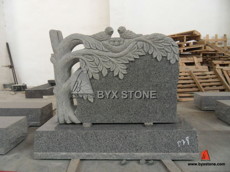Grey Granite Tree Monument with Birds Carving for Cemetery