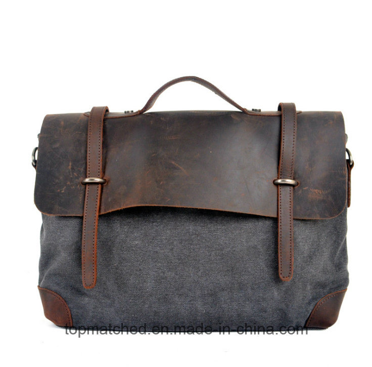 Wholesale Crazy Horse Leather Canvas Handbag First Layer Cowhide Leather Messenger Bag